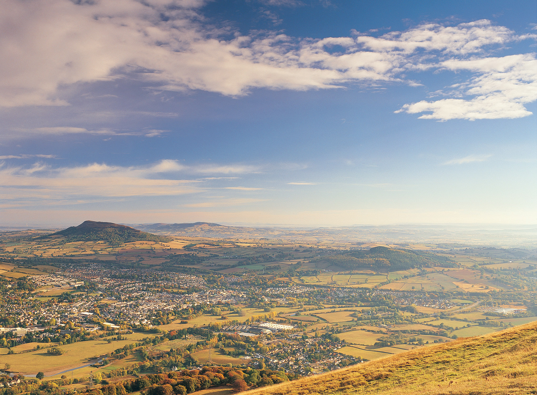 View of Abergavenny from the Blorenge mountain